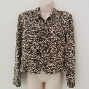 Petite Sophisticate Silk Leopard Zip Up Jacket